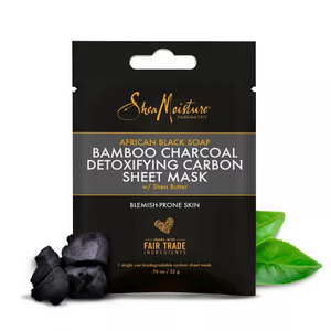 Shea Moisture African Black Soap Bamboo Charcoal Detoxifying Carbon Sheet Face Mask